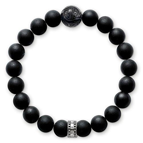 Thomas Sabo Damen-Armband Sterling Silber Rebel at heart matt-schwarze Obsidian Breite: 0,9 cm A1085-023-11-S