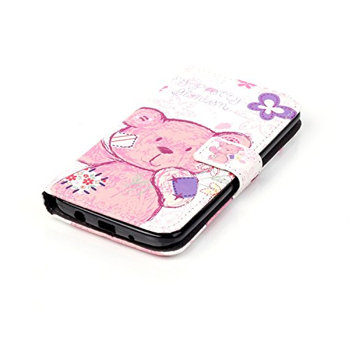 LG K7 Case,LG K7 Leather Case,LG K7 Cover,Flip Wallet case for LG K7,Cool 3D Pink Lovely Bear Patterned PU Leather Stand Function Protective Cases Covers with Card Slot Holder Wallet Book Design Fordable Magnet Closure Case for LG K7