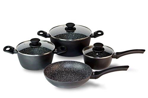 Linnuo 7er Kochset antihaft Pfannen Topfset Granit mit Edelstahlboden Topf Induktion geeignet Topfsets beschichtet