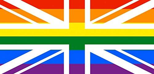 Union Jack Gay Pride Regenbogenflagge, ca. 150 x 90 cm groß,100% Polyester, Metallösen,doppelt genäht, Symbol der Leben- und Schwulenbewegung -