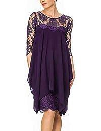 NN-YAN Vestido de Mujer Talla Grande Vestido de Gasa con Vaina Delgada Color sólido