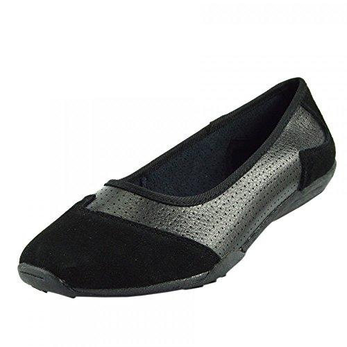 Kick Footwear - Donna Ballerina Del Balletto Di Dolly Pompe Ladies Nero Piatto Mocassini Scarpe Nuove Nero F80261