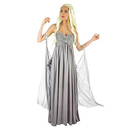 Mutter der Drachen Damen Hochzeitskleid Kostüm für Game of Thrones Daenerys Fans grau - M (Feuer Drachen Kostüm)