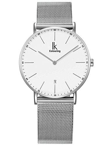 Alienwork Herren Damen Armbanduhr Quarz Silber mit Metall Mesh Armband Edelstahl Kalender Datum Weiss Ultra-flach Slim-Uhr
