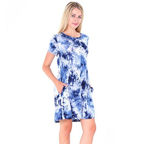 NiSeng Donna Mini Vestito Maglia Manica Corta T-Shirt Vestito Casual Allentata Tasca Abito Blu Bianco