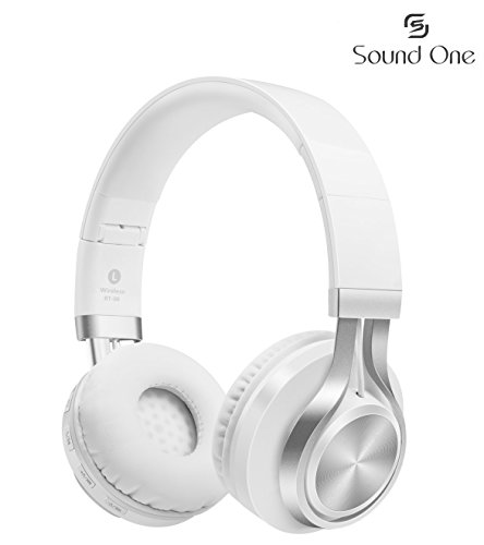 Sound One BT-06 Bluetooth Headphones Build in Microphone  with SD Card Function /FM Radio and Extra Audio Cable, Wireless Headphones (White)