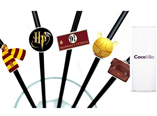 10 x Coco&Bo - Magical Wizarding Party Straws - Harry Potter Theme Hogwarts Houses Party Decorations and Table Accessories
