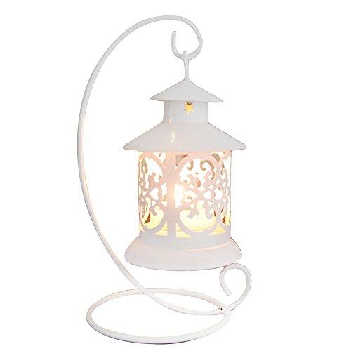 Vejaoo Metall Kerzenhalter Moderne Laterne Vintage Tee Licht Aushöhlen Armleuchter Home Decor (Weiß)