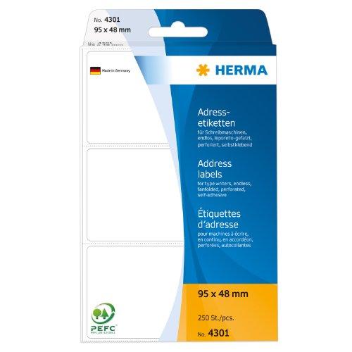 Herma 4301 Schreibmaschinen Adressetiketten endlos (95 x 48 mm) weiß, 250 Adressaufkleber, Papier matt, selbstklebend, perforiert, Leporello-Falz