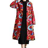 UFACE Frauen Folk-Custom Print Lange Baumwolle Dicke Jacke Parka Outwear Windbreaker Coat