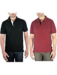 Komnil MEN'S Premium Maroon Polo Cotton Pique Knit Half Sleeve T-Shirt And Black Polo Pique Knit Half Sleeve Cotton...