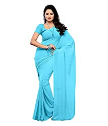 Aruna Sarees Chiffon Saree (Light Blue Plain_Blue)