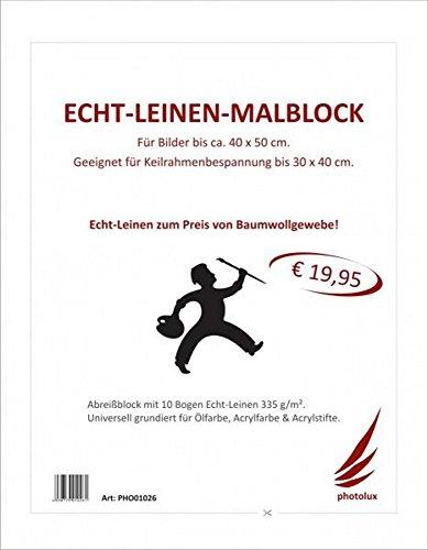 Echt Leinen Maltuch Block 335 gsm 10 Blatt 40x50 cm als weiß grundierte Leinwand. Künstlerleinwand für Keilrahmen selbstbau