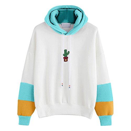 Dorical Damen Langarm Hoodie Sweatshirt mit Kapuze Pullover Tops Dünne Lange Bluse Hemd Tops Elegante Lose Blusen Oberseiten Langarm Mantel Outwear Gr S-XL(Himmelblau,Medium)