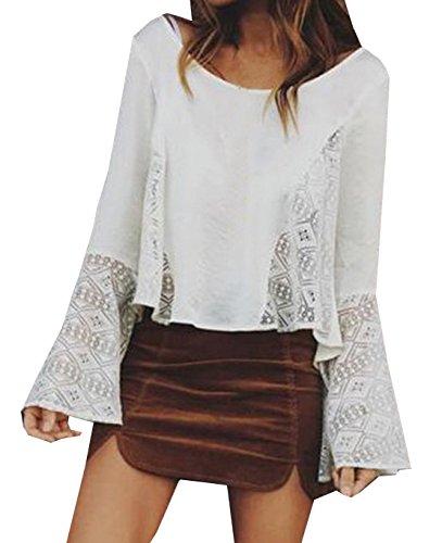 Maglie a manica lunga in pizzo Donna Camicie maniche a campana Bluse Sciolto T-shirt Top Chiffon Autunno Bianco