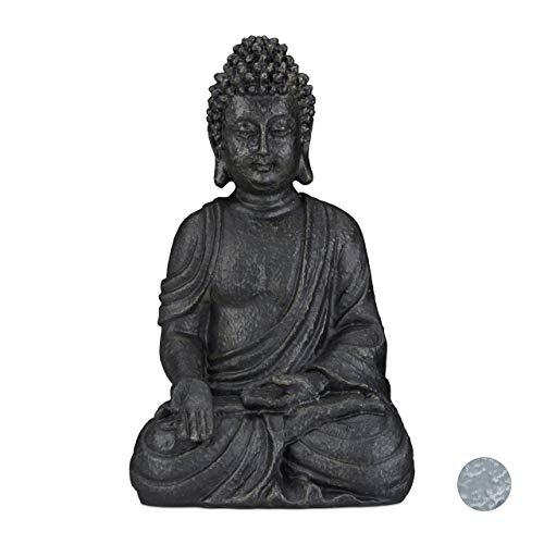 Relaxdays Statua Zen del Buddha Seduto XL, 40 cm, Feng Shui, per Esterni, da Giardino, Decorativa, Grigio Scuro