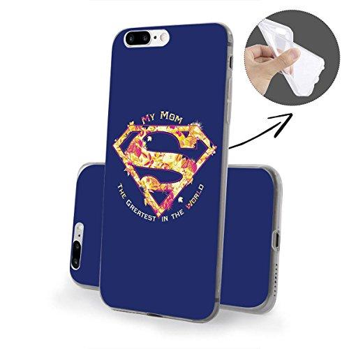 finoo | iPhone 8 Weiche flexible Silikon-Handy-Hülle | Transparente TPU Cover Schale mit Motiv | Tasche Case Etui mit Ultra Slim Rundum-schutz |Superman logo transparent Mum greatest