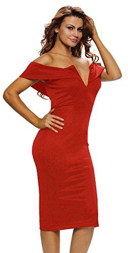 La Vogue-Vestito Bodycon Donna Senza Spalline Slim Abito V-Collo Ginocchio Cerimonia Rosso2