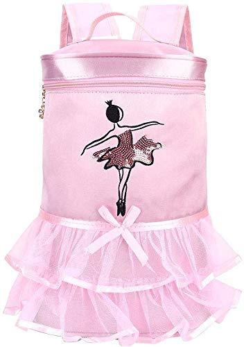 Borsa Danza Classica Tutu Pink Dress Satin Confortevole Zaino Ballo Ragazza Ballerina Zaino con Paillettes per Ragazze Bambino...