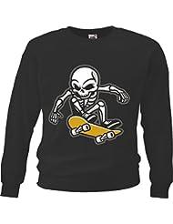 "Sweatshirt ""Skull Skateboard Skateboard Fahrer Skater- Totenschädel - Totenkopf - Schädel - Rocker - Biker"" in Schwarz"