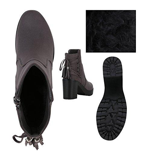 Gefütterte Damen Plateau-Boots Quasten Schleifen Stiefeletten Grau