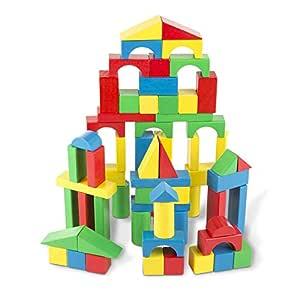 "Melissa & Doug Wooden Building Blocks Set (Developmental Toy, 100 Blocks in 4 Colors and 9 Shapes, 13.5"" H x 3.5"" W x 9"" L)"