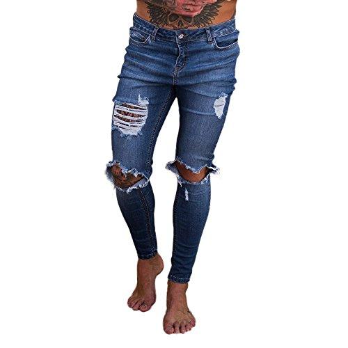 Celucke Herren Jeans Hose,Männer Ripped Slim Fit Motorrad Löcher Denim Jeanshosen Reißverschluss Streetwear Hosen