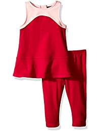 Nautica Baby Girls' Ponte Colorblock Top with Back Zipper Paired and Legging