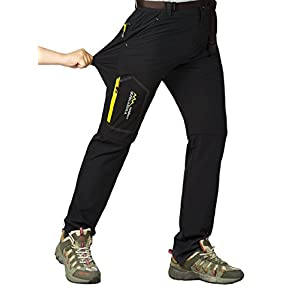 41qtmvLnTNL. SS300  - Srizgo Hiking Trousers Mens Walking Trousers With Belt Zip Off Quick Dry Multipockets Trousers Outdoor Trousers For Climbing Camping Leisure