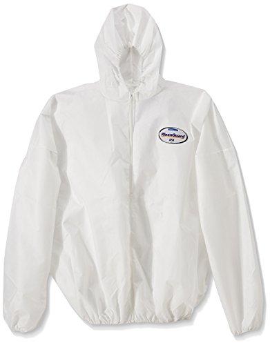 KLEENGUARD* A50 Atmungsaktive, begrenzt sprühdichte und partikeldichte Jacke mit Kapuze – Größe XXL (Art.-Nr. 99470), 1 weiße Jacke pro Beutel (VE mit 15 Beuteln) (1 Kapuzen-jacke)