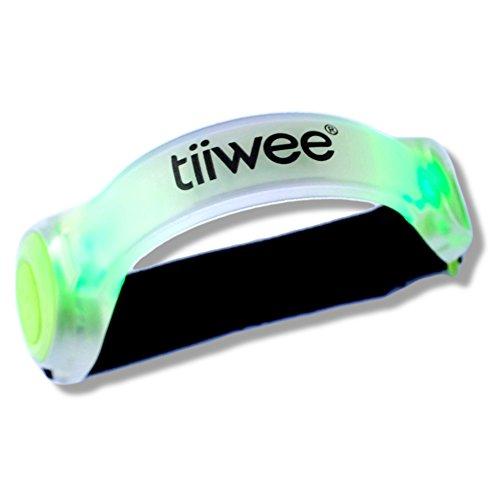 Tiiwee Luminosi LED Silicone Riflettenti di Sicurezza Luce Sport per Esterno Corsa Ciclismo Jogging e Trekking - Verde