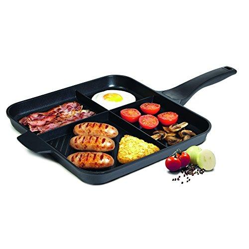 BRATmaxx Multipfanne Aluguss 32cm ( Komplette Gerichte aus nur einer Pfanne! Aluguss-Pfanne mit 4 Zubereitungs-Zonen )
