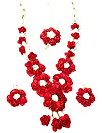Floret Jewellery Red Flower Set With Earrings & Maang Tika For Women