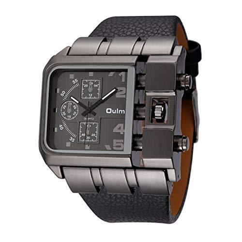 SW Watches Oulm Super große quadratische Zifferblattuhren Casual Armbanduhr Breites Lederarmband Top Marken Luxus Quarzuhr für den Mann 3364,Black