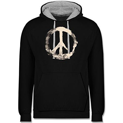 Statement Shirts - Frieden - Peacesymbol weiss - Kontrast Hoodie Schwarz/Grau Meliert