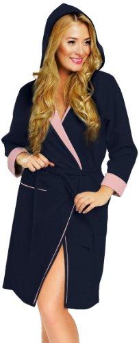 Italian Fashion IF Damen Morgenmantel Comfort (Dunkelblau/Rosa, L) (Herren-bademode Unternehmen)