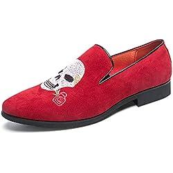 YAN Zapatos mocasines para hombres sin cordones Rojo