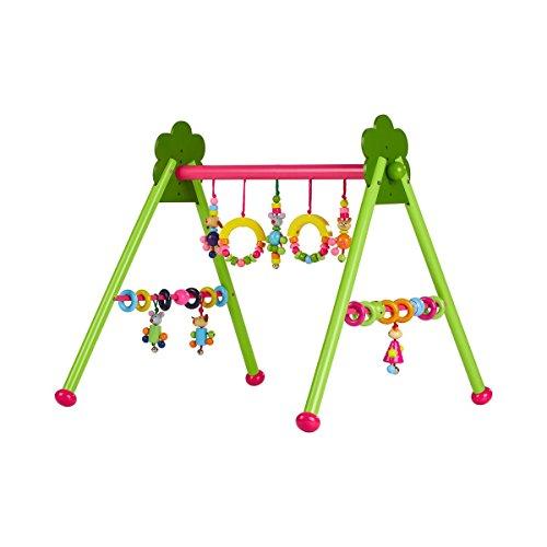 solini Spieltrapez aus Holz höhenverstellbar / Spielbogen mit 6 Figuren / ab Geburt / grün/pink