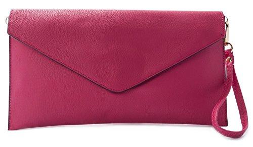 Big Handbag Shop pochette in eco pelle con tracolla lunga (Rosa)