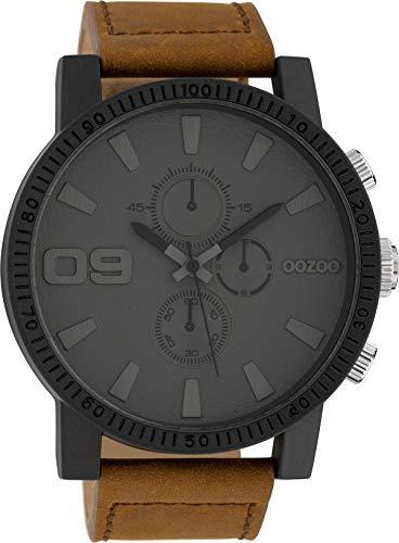 Oozoo Herrenuhr mit Lederband 50 MM Black/Dunkelgrau/Braun C10064