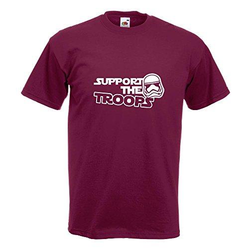 KIWISTAR - Support the Troops T-Shirt in 15 verschiedenen Farben - Herren Funshirt bedruckt Design Sprüche Spruch Motive Oberteil Baumwolle Print Größe S M L XL XXL Burgund