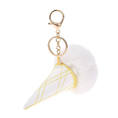 Tomtopp Fur Ball Key Chain PU Ice Cream Alloy Key Holder Women Bag Pendant(White)