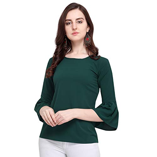 J B Fashion Women's Plain Regular fit Top (Fmania-top-187-S_Green_Small)
