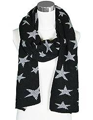 Mevina Cashmere / Kaschmir Strickschal mit Sterne Muster und Wolle Schal Damen Winter