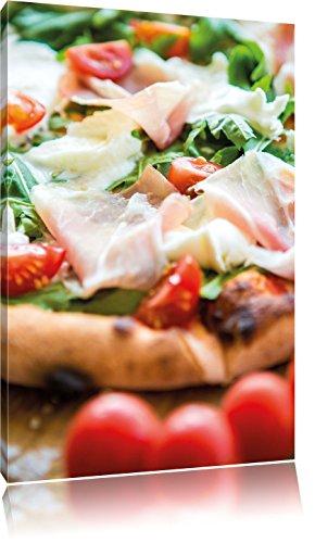 Leckere Pizza mit Parmaschinken , Format: 80x120 auf hochkantiges Leinwand, XXL riesige Bilder fertig gerahmt mit Keilrahmen, Kunstdruck auf Wandbild mit Rahmen, günstiger als Gemälde oder Ölbild, kein Poster oder Plakat