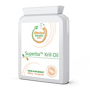 Superba Krill Oil Extract 500mg 60 capsules – 1000mg per serving – High Grade 100% Pure Cold Pressed Eco Harvested Antarctic Krill - source of Omega 3 - contains Astaxanthin - benefits cardiovascular function, heart health, manage cholesterol, brain health, supports immune system, joint health and reduces inflammation