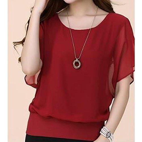 Minetom Femme Casual Haut Tee-shirt Col Rond Manche Chauve-souris Tops Blouse Chemise T-Shirt Vin rouge