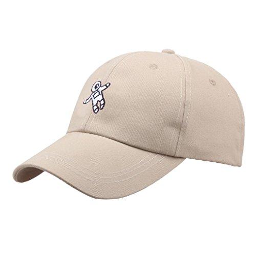 Unisex Mode Astronaut Emberidery Baseball Kappen Dad Hat (Beige) ()