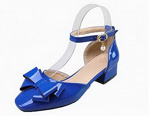 Odomolor Mujeres con Hebilla Puntera Cerrada Sólido Sandalias de Vestir, ROPDL007345, Azul, 41
