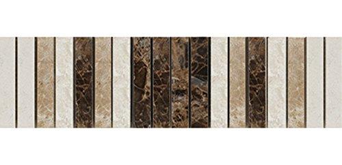 mosaico de mármol de piedra natural de cenefa para cocina y cuarto de baño/piedras de mosaico azulejos mármol cenefa Pulido/30,5cm x 7,5cm x 1,0cm/18piedras Pro unidad, beige